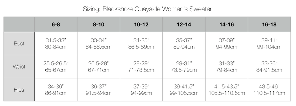 Blackshore Quayside Women's Crew Neck Sweater Size Chart