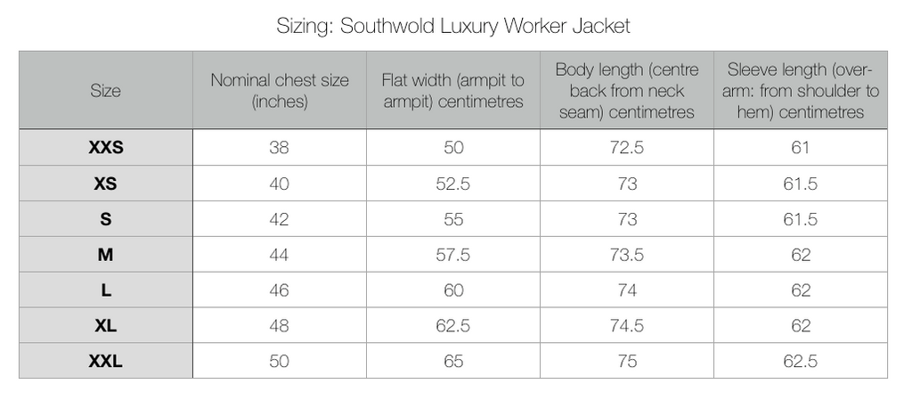 Southwold Luxury Worker Jacket Size Chart