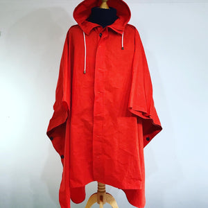 Handmade Rip-Stop Dry-Wax Poncho (Orange)