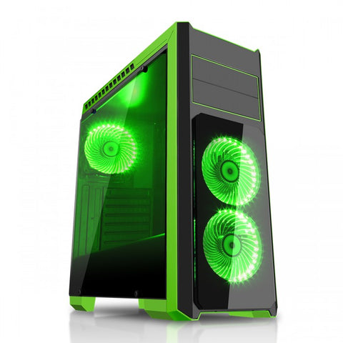 CIT Flash Mid Tower Black Green With 3x12cm 33 Green LED Fans Glass Side Top Front