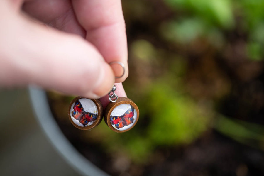Red butterfly wood earrings