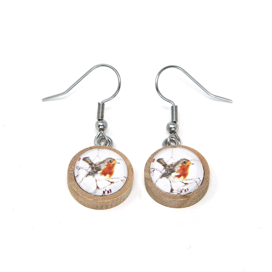 Red robin wood earrings