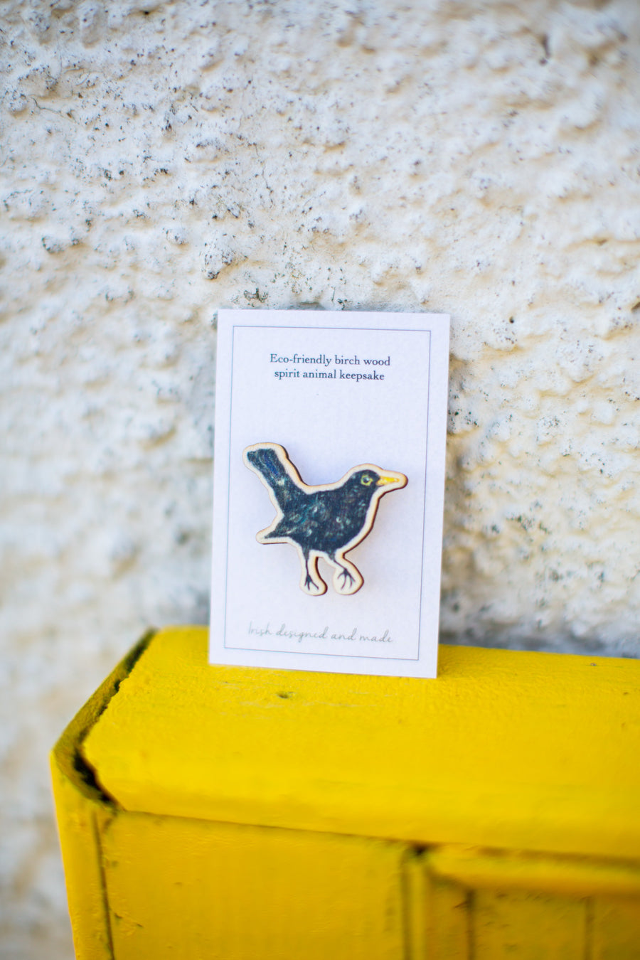 Wooden blackbird brooch