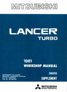 Lancer 2000 Turbo - Workshop Manual Supplement