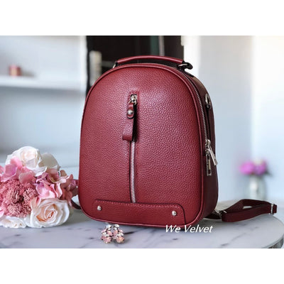 Rucsac burgundy piele natural tip geant Rainy