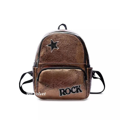 Rucsac gold piele eco Rock Star
