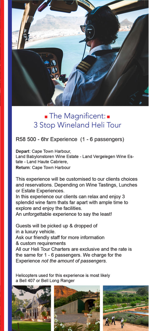 The Magnificent - Helicopter Experience - Cape Town Heli Tour - Winelands