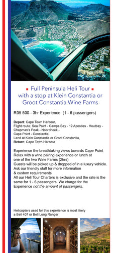 Full Peninsula Heli Tour with  Constantia Wine Farm Visit - Cape Town Helicopter Experience