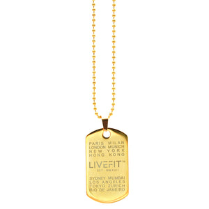 LIVEFIT™ Worldwide Dog Tag - Gold