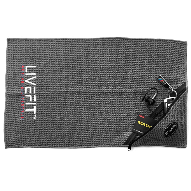 LIVEFIT™ Fitness Zipper Towel - Grey