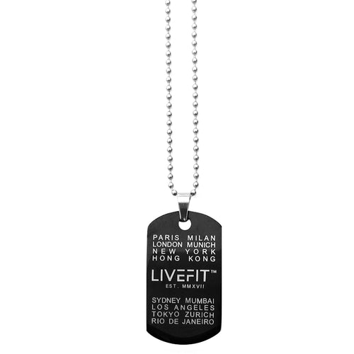 LIVEFIT™ Worldwide Dog Tag - Black/Silver