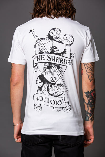 Official Victory The Sheriff Short Sleeve T-Shirt - White with Black Logo.