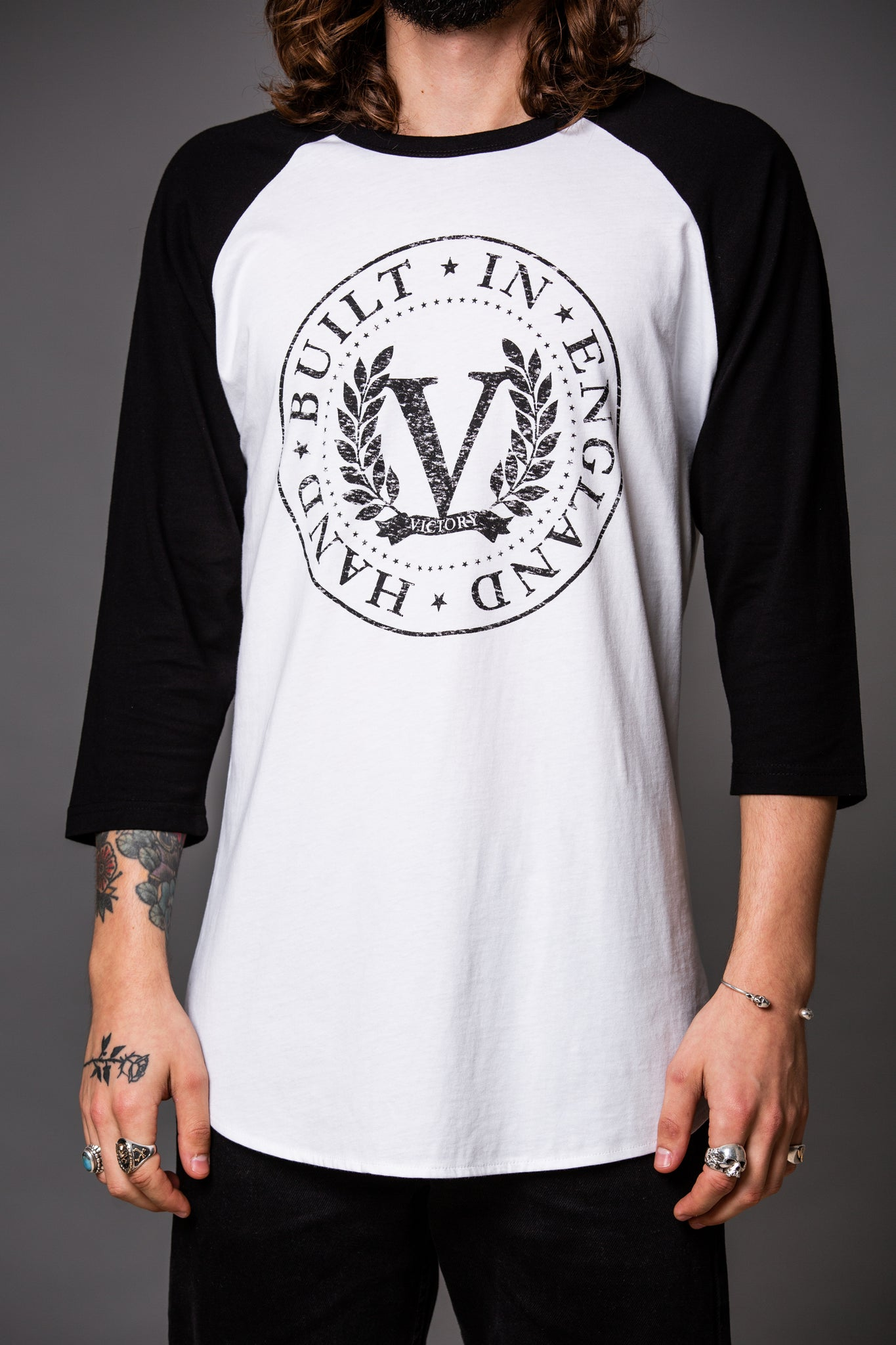 Official Victory Raglan T-shirt - White with Black 3/4 Sleeves and Black 'Stamp' Logo