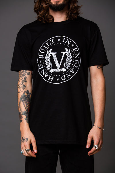 Official Victory Logo Short Sleeve T-Shirt - Black with white logo.