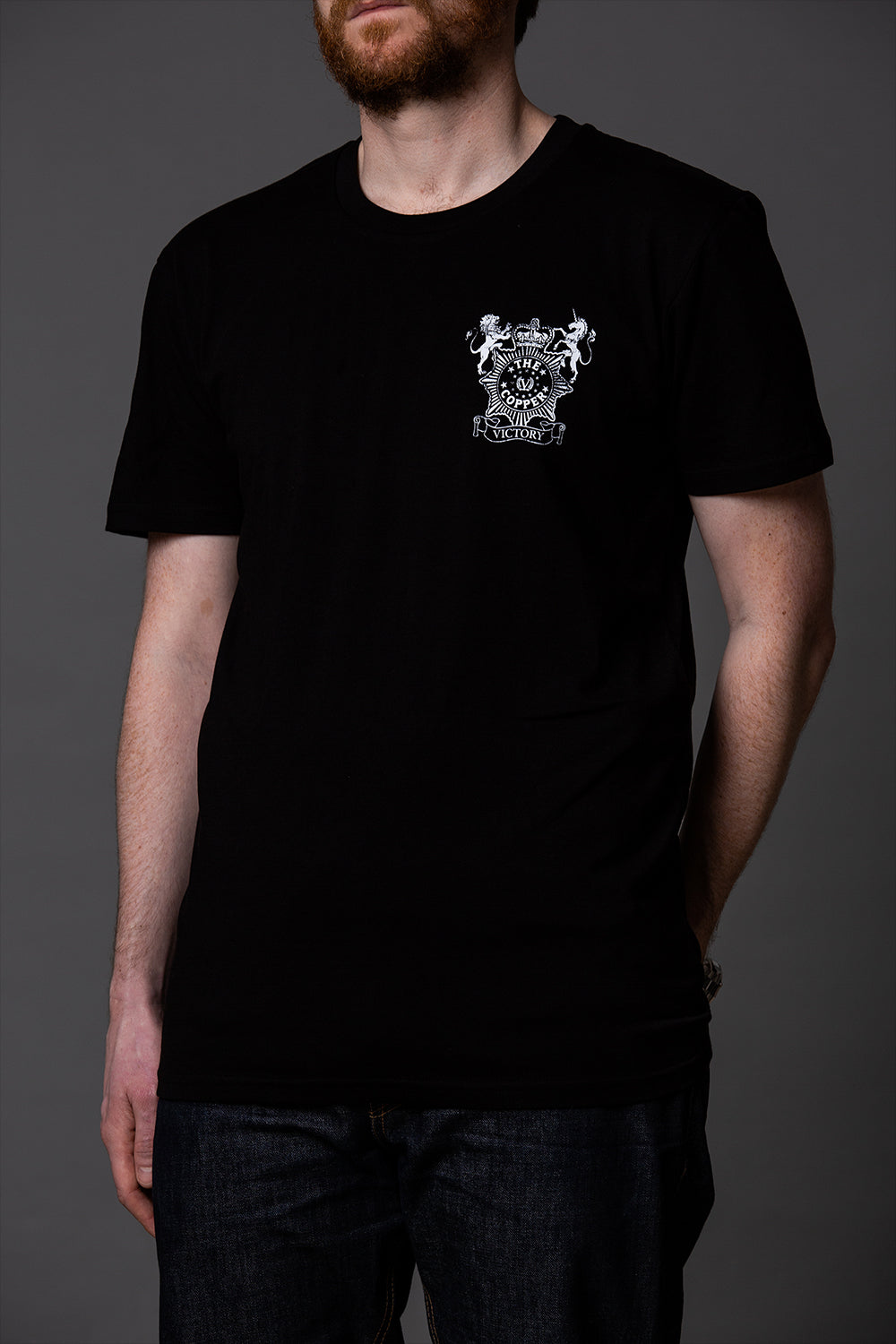 Official Victory The Copper Small Logo T-Shirt - Black with small white logo on front.