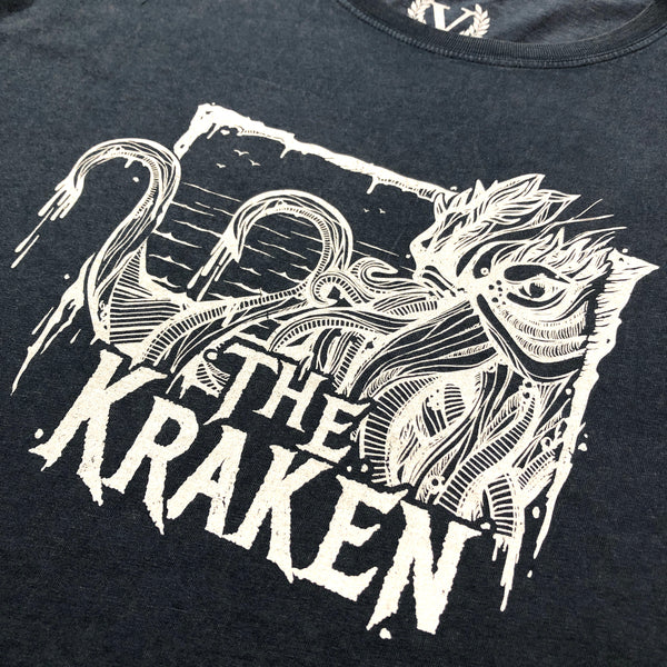 Official Victory Kraken Short Sleeve T-Shirt - Stone Washed Denim / Distressed White