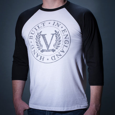 Official Victory Raglan T-shirt - White with Black 3/4 Sleeves and weathered grey 'Stamp' Logo