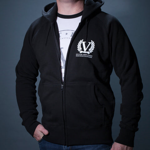 Official Victory Zip-Up Hooded Sweatshirt - Black with White Victory Crest Logo