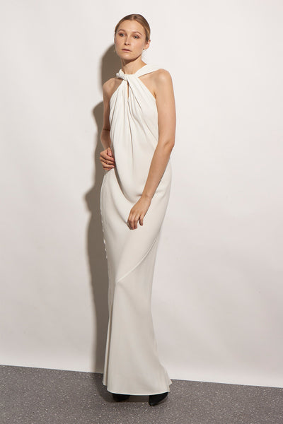 BERLIN LONG DRESS CREPE WHITE - KNUEFERMANN