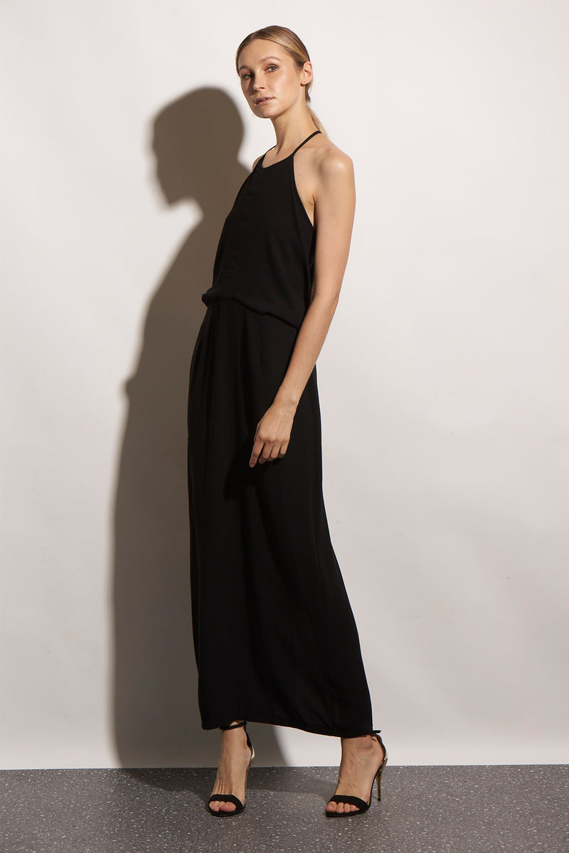 ORIGAMI LONG BLACK DRESS - KNUEFERMANN