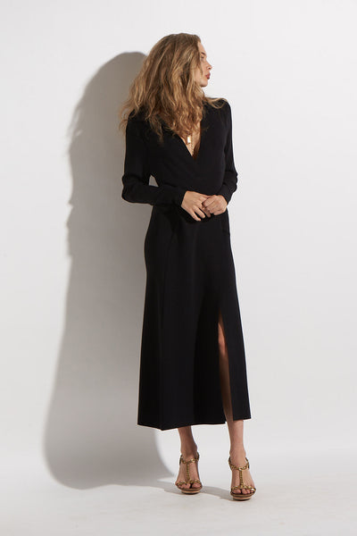 L/S WRAP DRESS DOUBLE KNIT