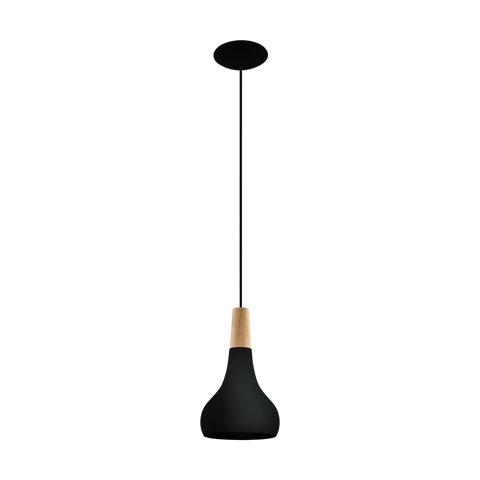 Sabinar 1lt Metal Pendant Light with Timber Highlight