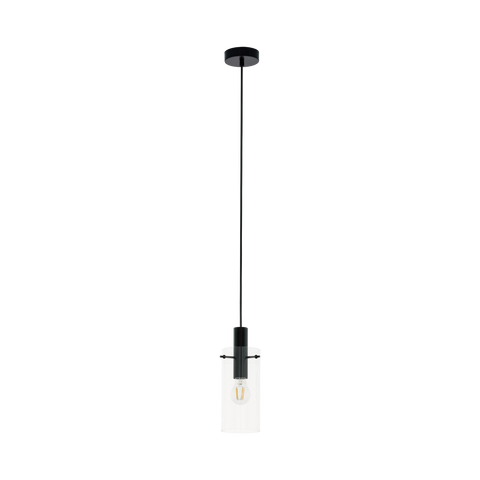 Montefino Clear Glass Pendant Light Black
