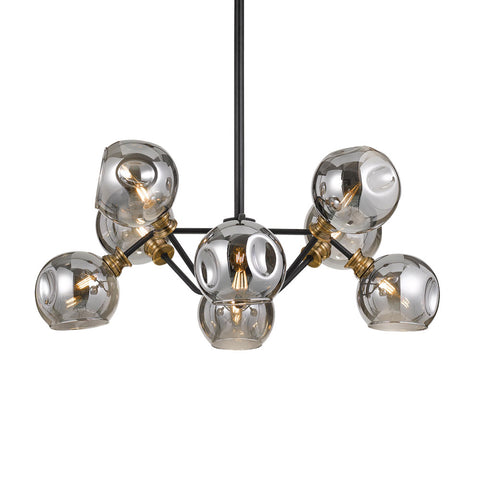Annabel Pendant Light Matt Black/Antique Brass/Smoke Glass