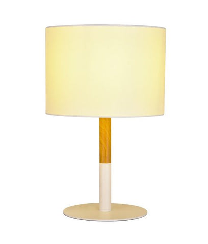 Amara Wood Look Table Lamp With Fabric Drum Shade