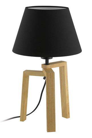 Chietino Natural Wooden Table Bedside Lamp and Shade Black