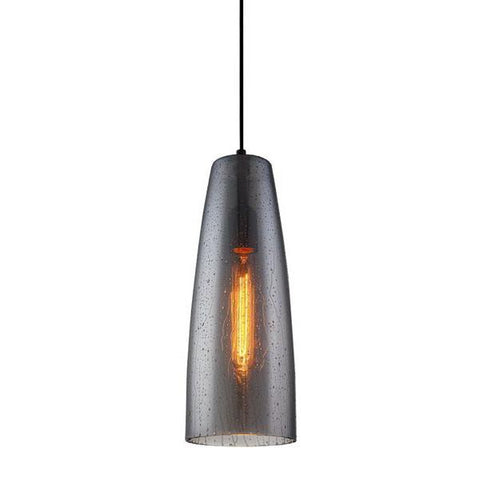 Chuva Pendant Light Black/Smoke Water Drop Glass