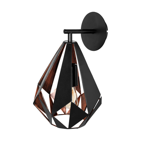 Carlton 1 Wall Bracket Light Copper/Black