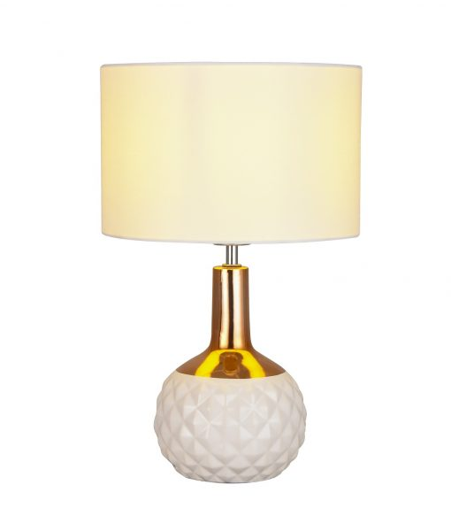 Imara White Copper Table Lamp With Fabric Shade
