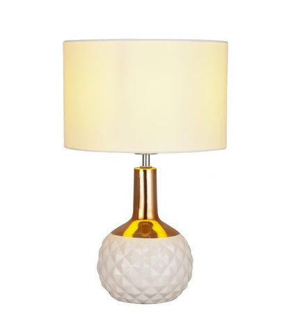 Imara White/Copper Table Lamp with Fabric Shade