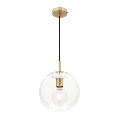 Madrid 1lt Sphere Pendant Light Brass/Clear