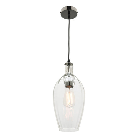 Belmont 1lt Ribbed Glass Hanging Pendant Light