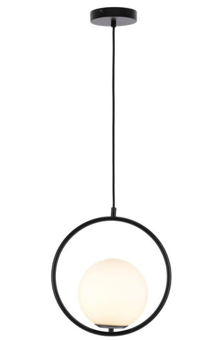 Edith 1lt Round Metal Frame Pendant Light with Opal Ball Shade
