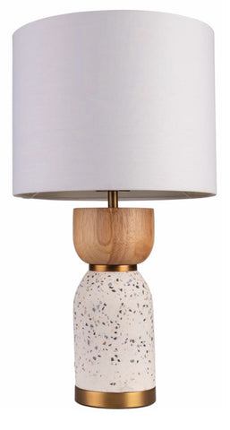 Lottie White Terrazzo and Natural Timber Base with Aged Brass Table Lamp and White Fabric Drum Shade
