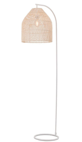Sawyer Rattan Hanging Cane Woven Basket Shade Floor Lamp