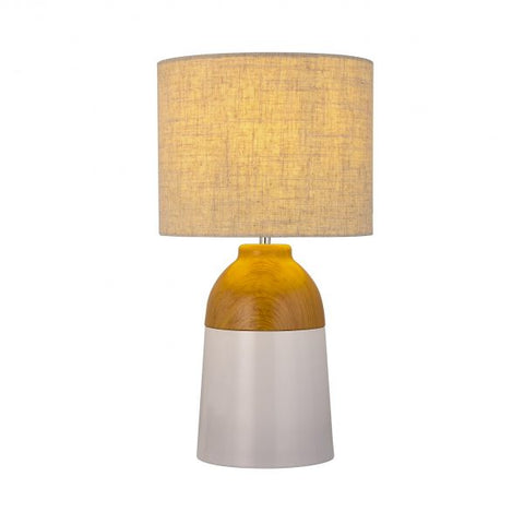 Nia Table Lamp Wood Look/White with fabric Shade