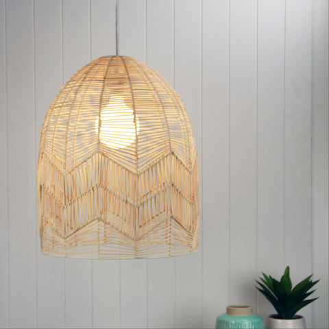 Tanah Rattan Cane 1lt Cord Pendant Light Natural Wood