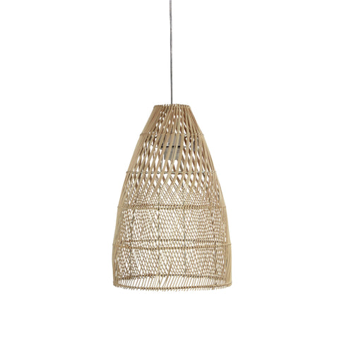Oden Rattan Cane 1lt Cord Pendant Light Natural Wood