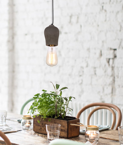 Pen Stone/Concrete 1lt Pendant Light