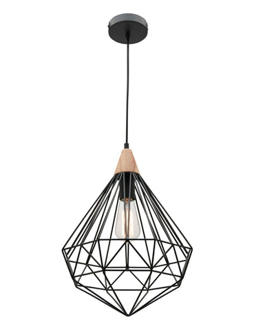 Raglan 1lt Pendant Light Black/Oak