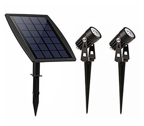 Solar Powered LED Landscaping Garden Spotlight Spike Set