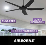 Airborne Storm 5 Blade ABS 52'' 1300mm DC Remote Control Ceiling Fan