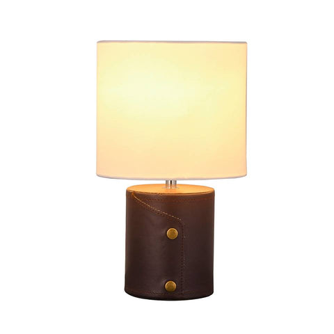 Simba Leather Table Lamp with Fabric Shade