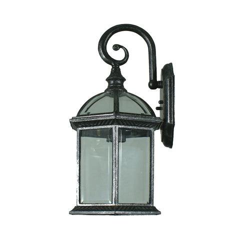 Station Wall Exterior Light Antique Black/Clear