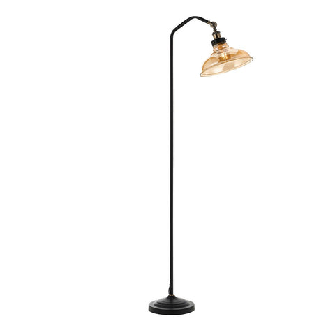 Hertel Floor Reading Lamp Matt Black with Amber Glass