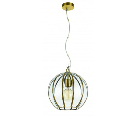 Medina 1lt Pendant Light Antique Brass/Clear Glass